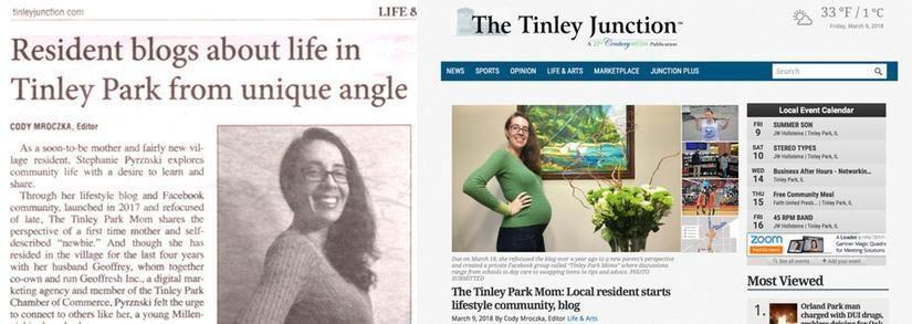 Tinley Park Mom Profiled In Tinley Junction Newspaper on Women's Day