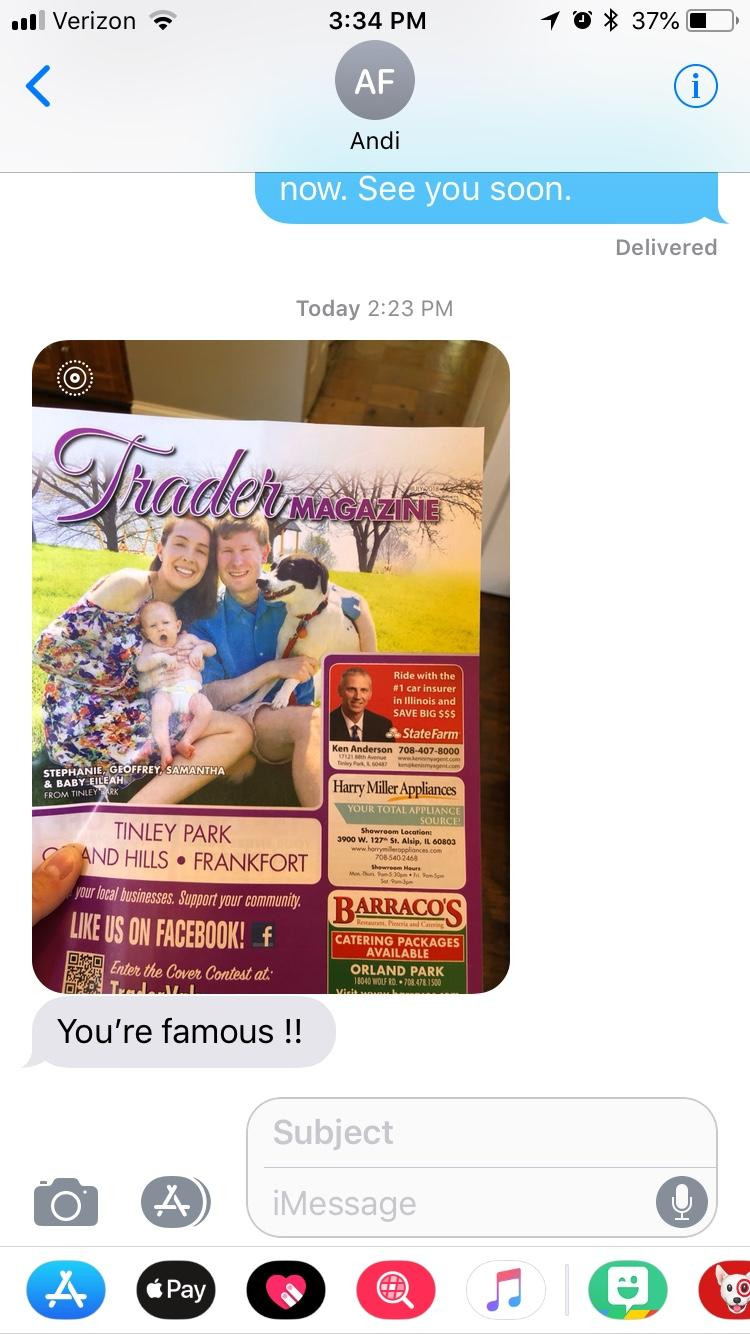 Screenshot from iMessage from mom friend about being on the cover of Traders Magazine July 7, 2018