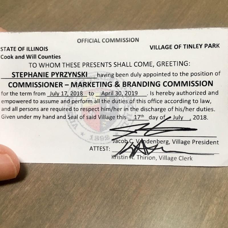 Stephanie Pyrzynski Tinley Park Marketing and Branding Commission Card
