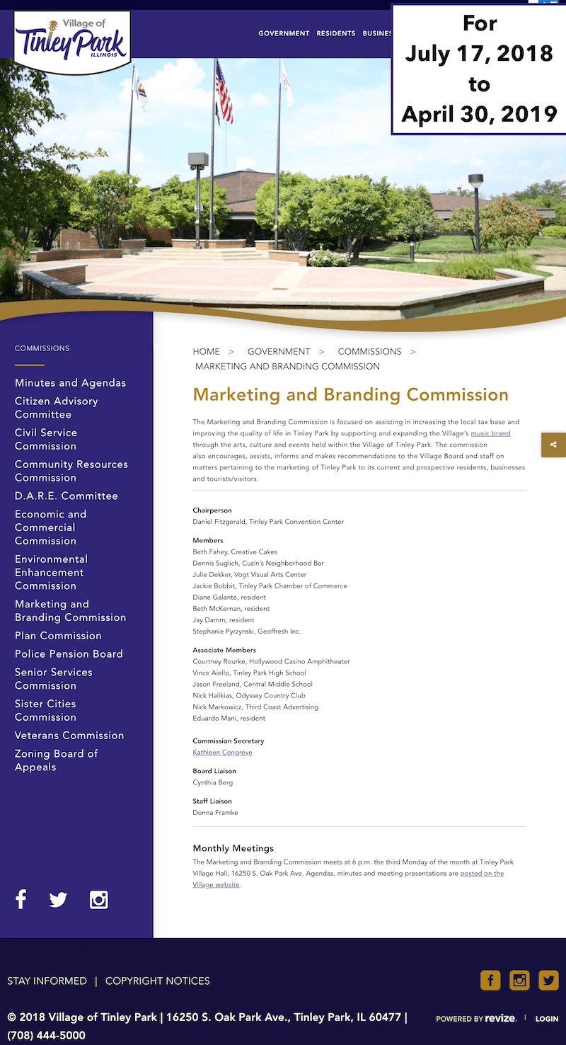 Homepage of Tinley Park Marketing and Branding Commission