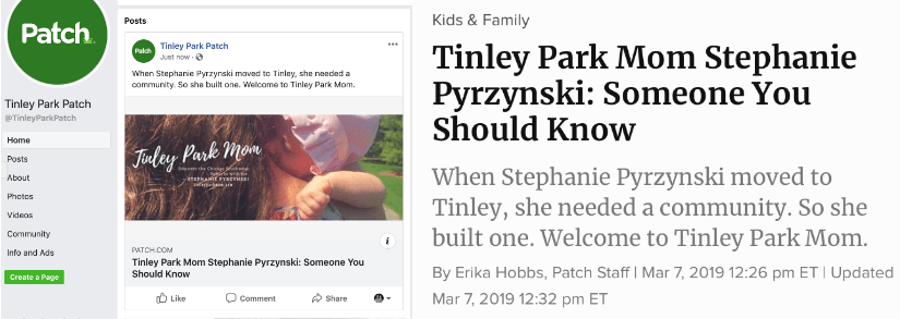 Tinley Park Mom Profiled In The Tinley Park Patch